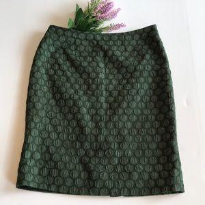 Maeve Size 8 Green Polka Dot Embossed Skirt